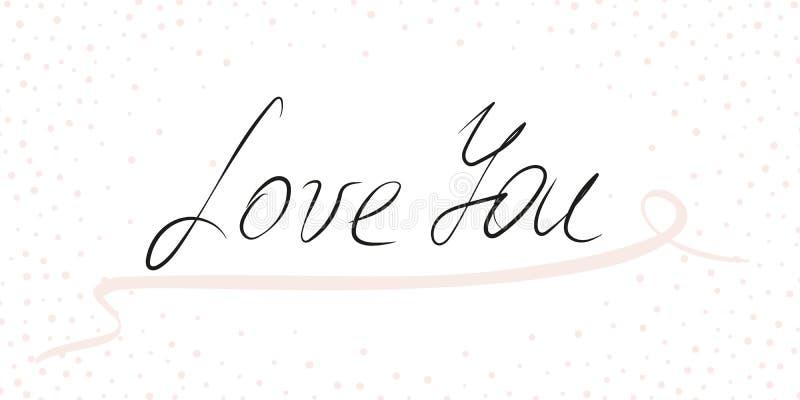 Aimez-vous - vecteur marquant avec des lettres l'expression avec la fronti?re boucl?e rose de ruban et de confettis illustration stock