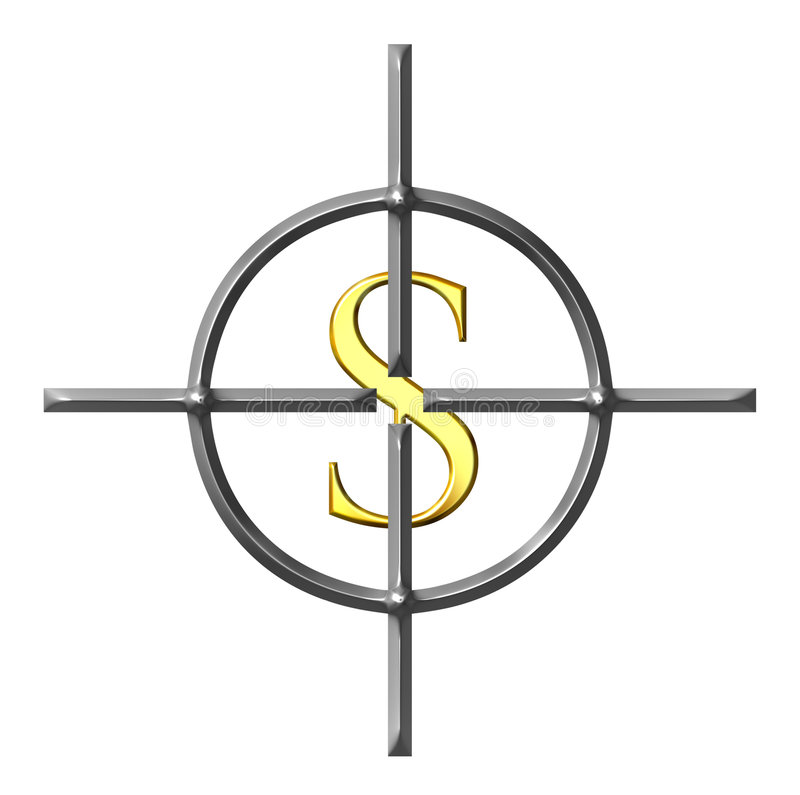 Aiming Dollars royalty free illustration