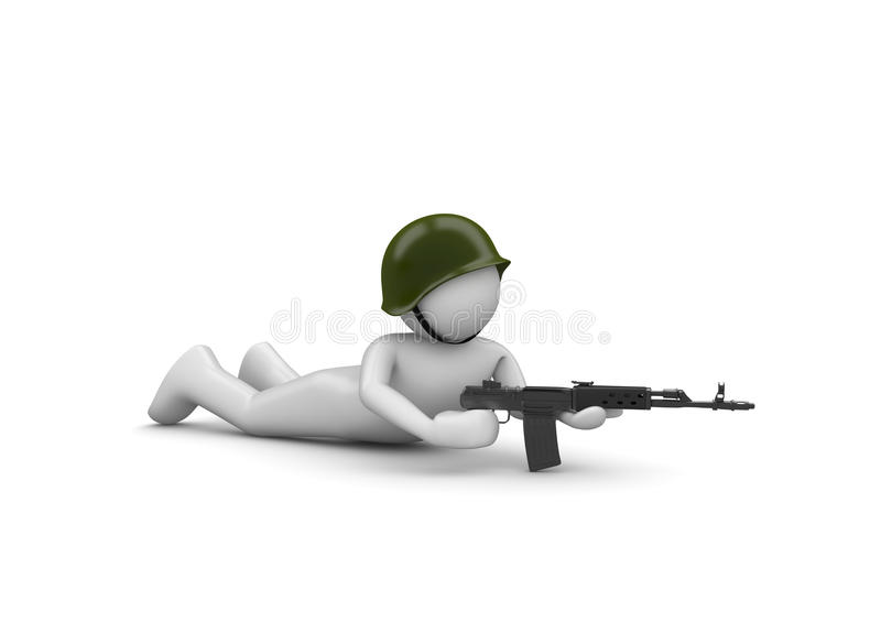 Aiming Soldier In Ambush Stock Photo