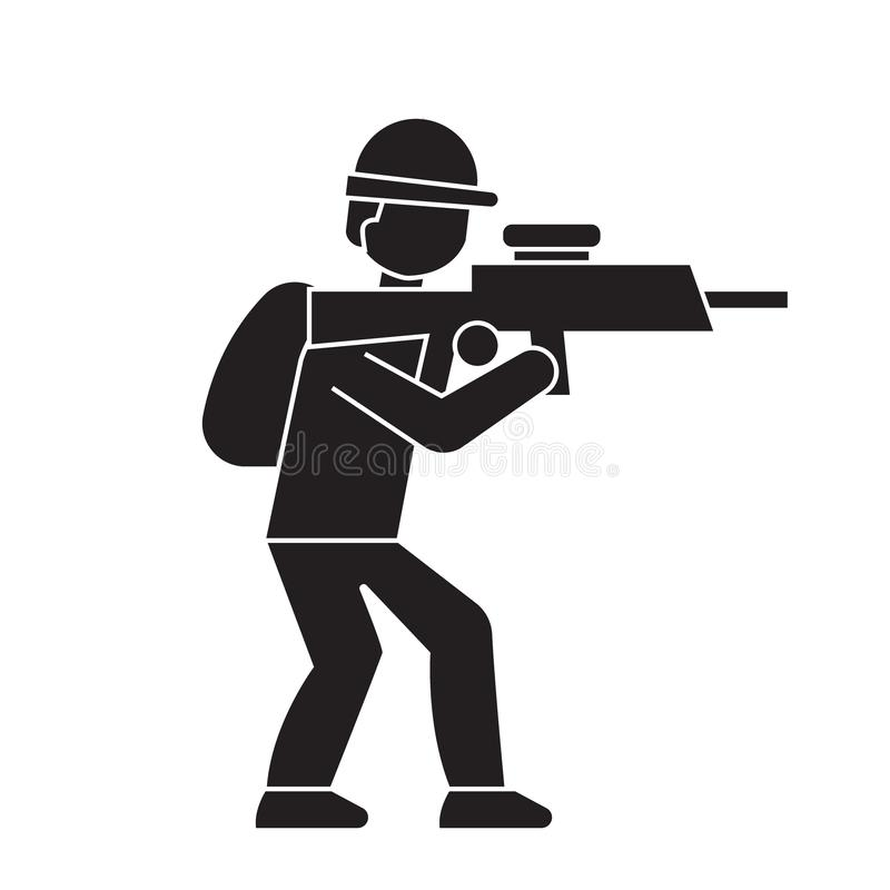 Aiming soldier black vector concept icon. Aiming soldier flat illustration, sign. Symbol stock illustration