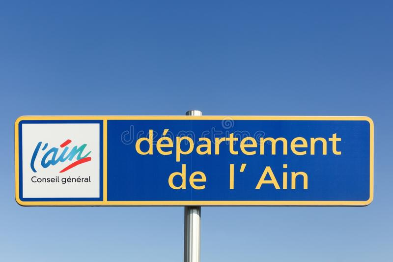 Ain department sign on a road in France. Rillieux, France - February 19, 2017: Ain department sign on a road in France royalty free stock photo