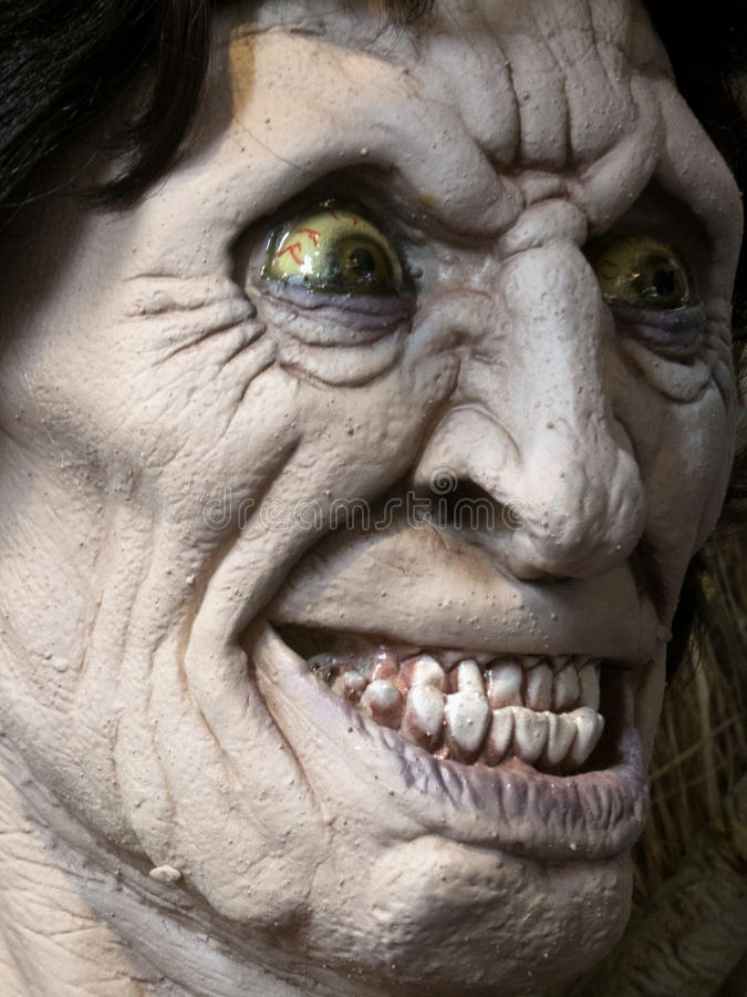 It Ain't Gum Disease. Scary, nightmarish constructed head in Halloween haunted house royalty free stock photo