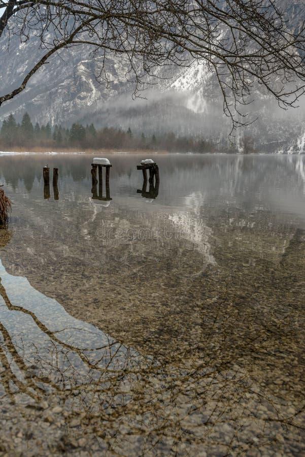Ainda água do lago frio Bohinj do inverno imagens de stock royalty free