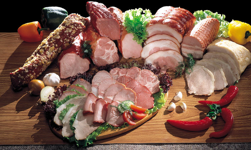 Ainda carne e salsicha foto de stock