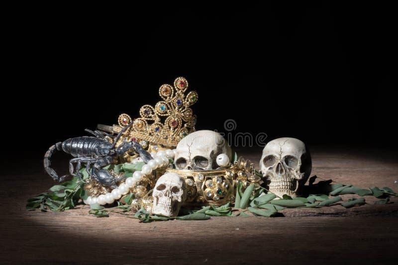 Ainda crânio e escorpião da vida com joia do ouro do tesouro, pirata fotos de stock royalty free