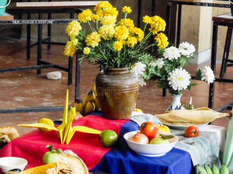 Ainda flores e frutos da vida dentro para lições de pintura imagens de stock