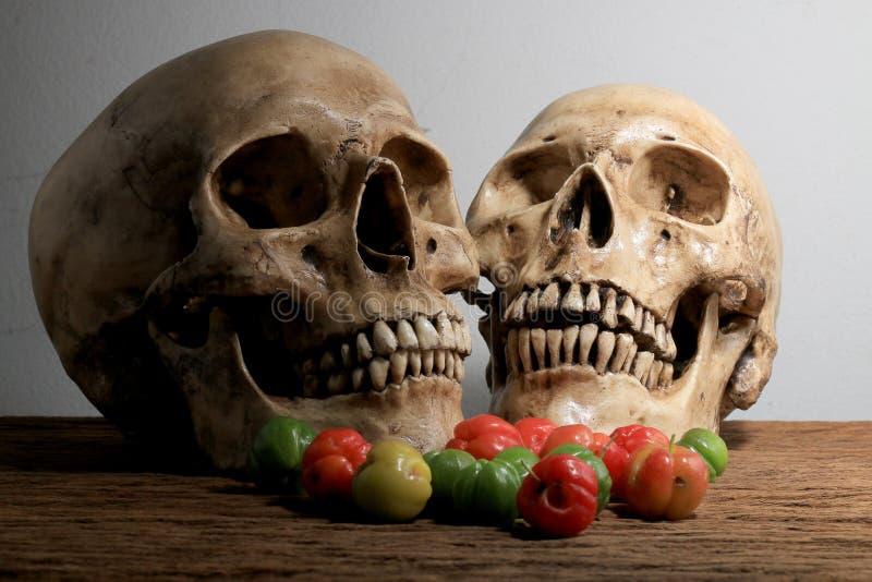 Ainda fotografia da vida com crânio humano e as cerejas frescas no tempo de colheita na tabela de madeira com fundo da parede fotografia de stock