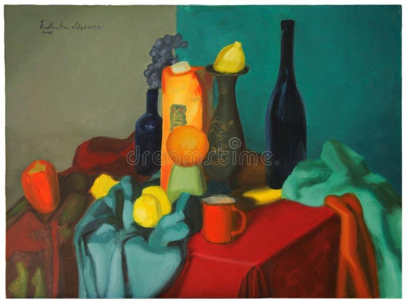 Ainda pintura a óleo da vida ilustração stock