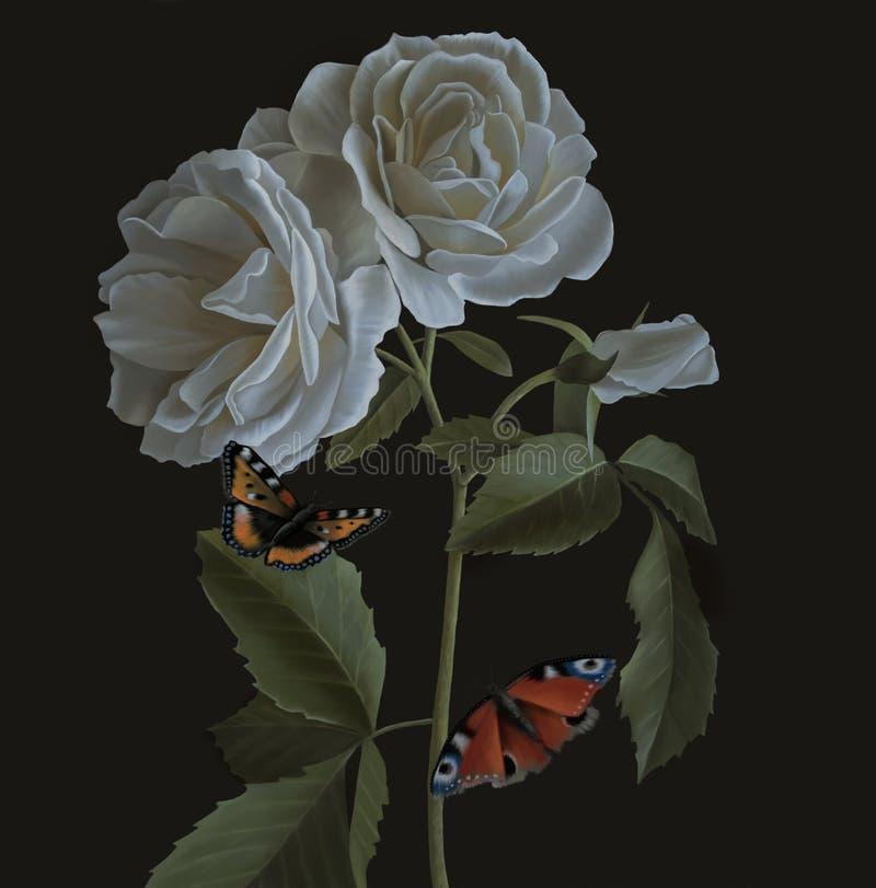 Ainda pintura a óleo da vida com as rosas brancas bonitas ilustração do vetor