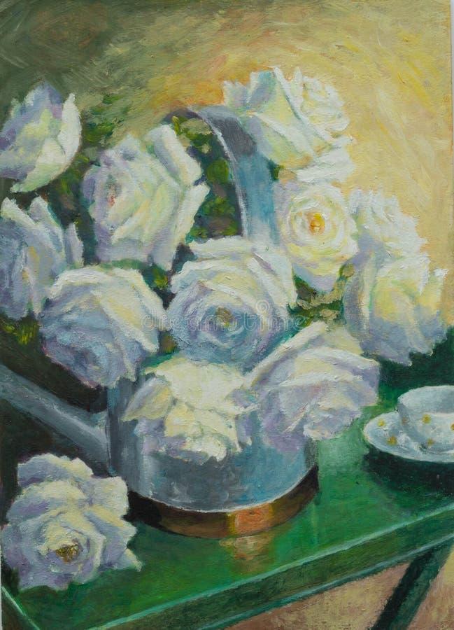 Ainda pintura a óleo da vida com as rosas brancas na lata molhando e no chá ilustração royalty free