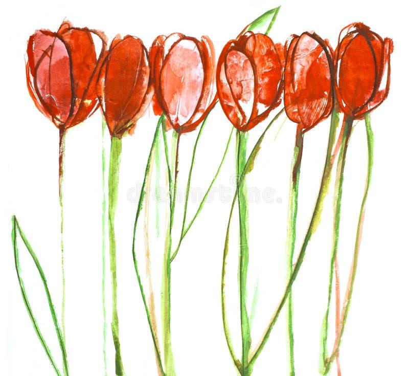 Ainda tulips da pintura da vida. fotografia de stock