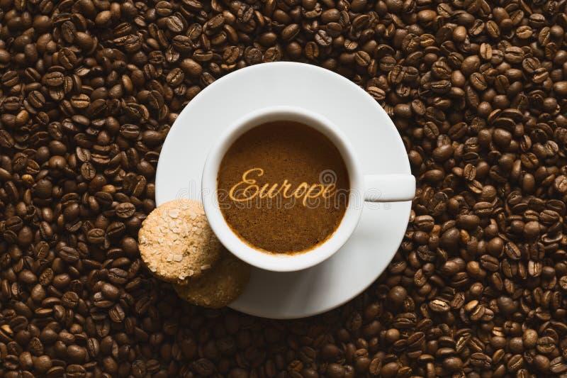 Ainda vida - café com texto Europa foto de stock royalty free