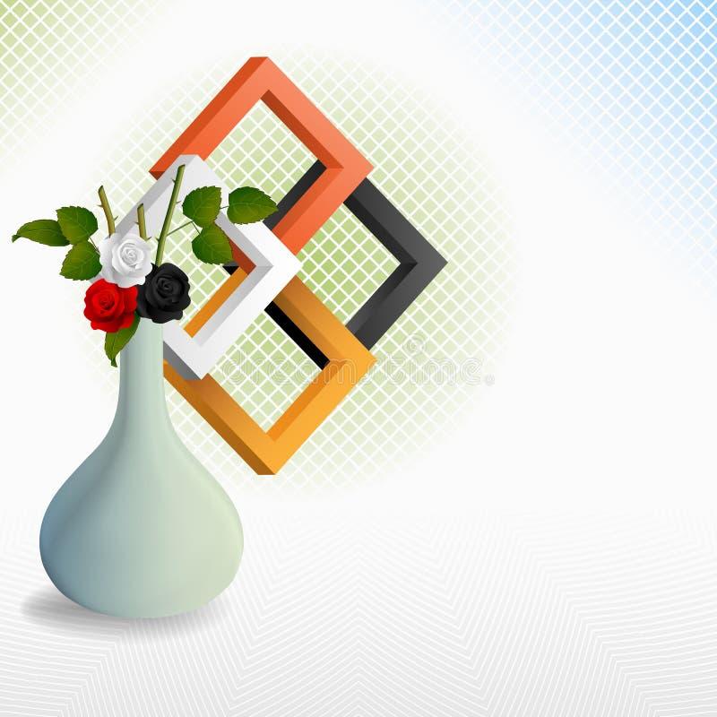 Ainda vida com as rosas no vaso e nos três quadrados das dimensões ilustração stock