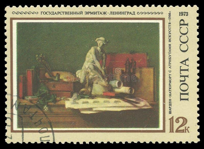 Ainda vida com atributos das artes por Chardin foto de stock