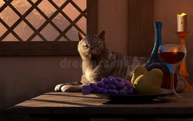 Ainda vida com gato ilustração royalty free