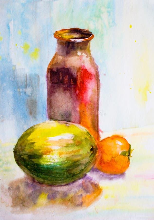 Ainda vida com jarro e fruta ilustração do vetor