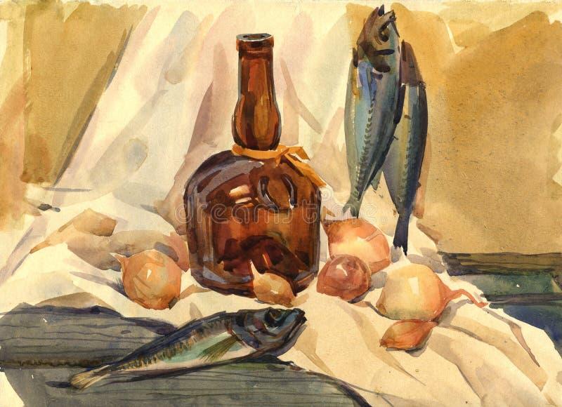 Ainda vida com peixes ilustração stock