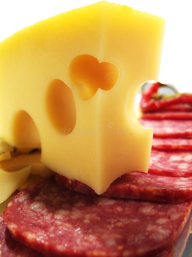 Ainda vida com queijo e salsicha foto de stock royalty free