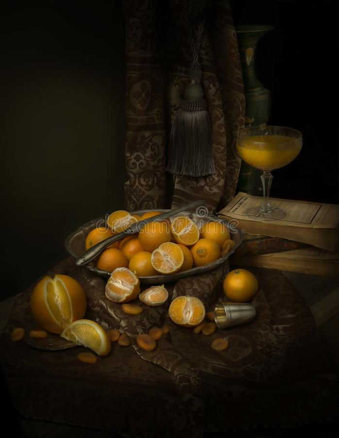 Ainda vida com tangerines fotos de stock royalty free