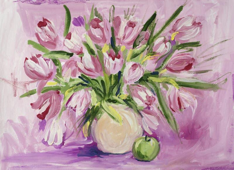 Ainda vida com tulipas e maçã fotografia de stock