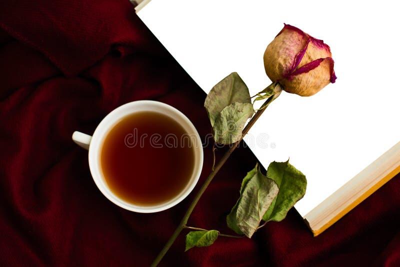 Ainda vida com um copo do chá, um seco aumentou, um livro imagem de stock