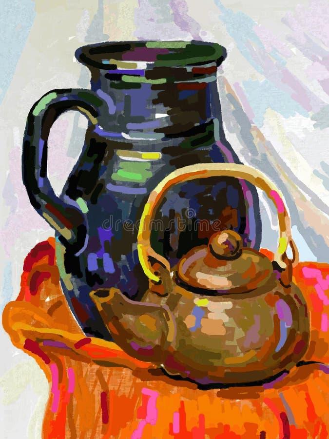 Ainda vida com um potenciômetro e um jarro do chá ilustração do vetor