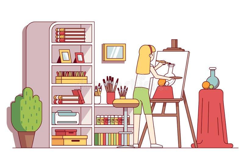 Ainda-vida do desenho da mulher do pintor da arte na oficina ilustração do vetor