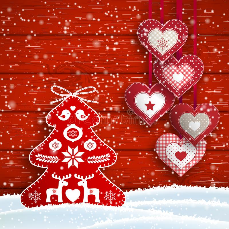 Ainda-vida do Natal com corações e a árvore vermelha simples ilustração royalty free
