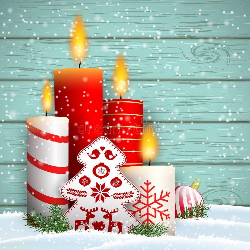Ainda-vida do Natal com velas e a árvore decorativa ilustração royalty free