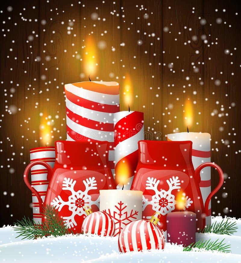 Ainda-vida do Natal com velas e caneca do chá ilustração royalty free