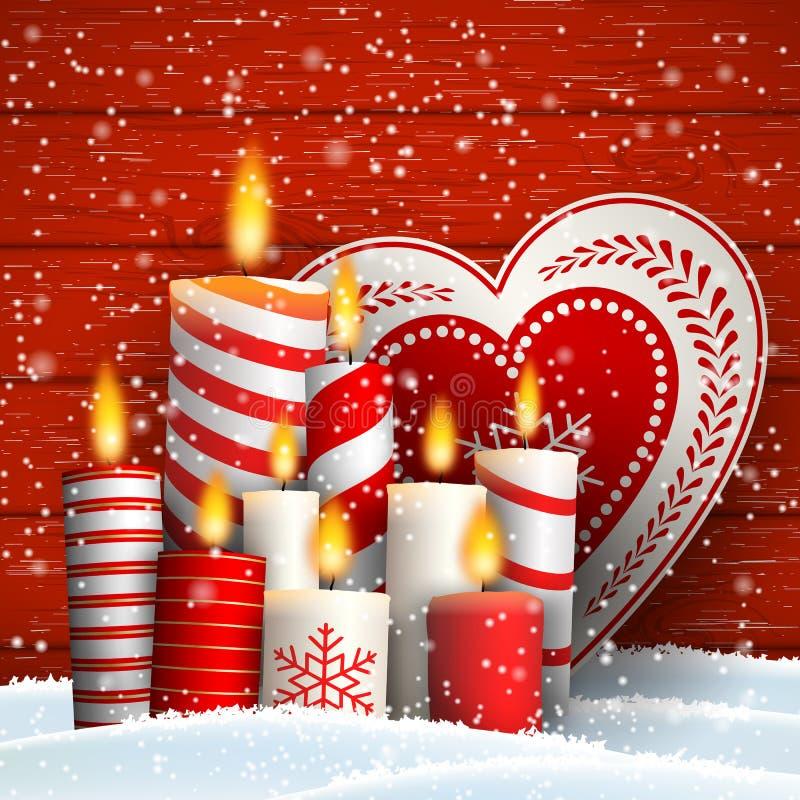 Ainda-vida do Natal com velas e coração decorativo ilustração royalty free