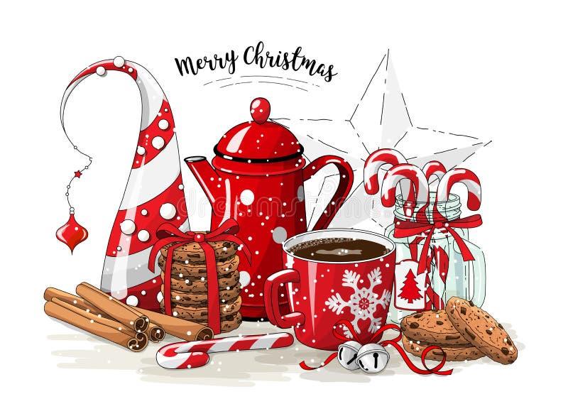 Ainda-vida do Natal, potenciômetro vermelho do chá, peões, árvore de Natal abstrata, frasco de vidro com bastões de doces, varas  ilustração do vetor