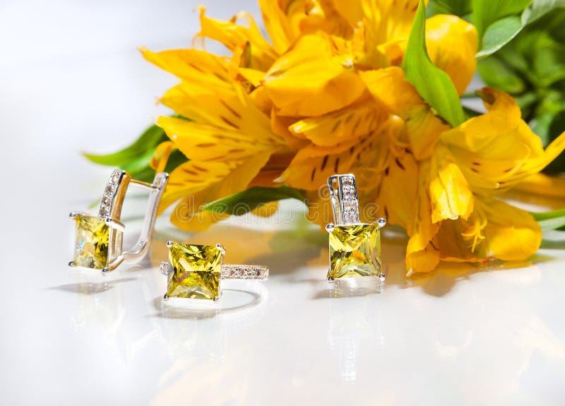 Ainda vida dos anéis, dos brincos e das orquídeas das flores imagem de stock royalty free