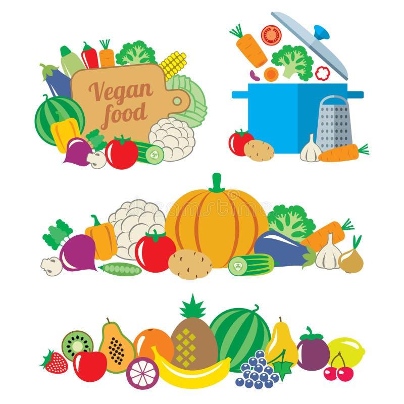 Ainda vida e beiras do stiyle liso dos vegetais e dos frutos ilustração royalty free