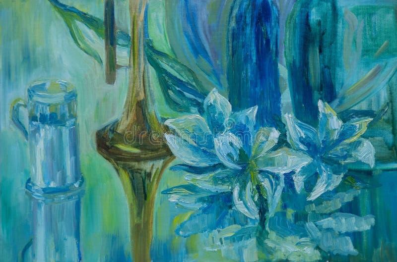 Ainda vida escrita no óleo Tubulação, caneca e lírios em uma tabela azul após uma chuva ilustração do vetor