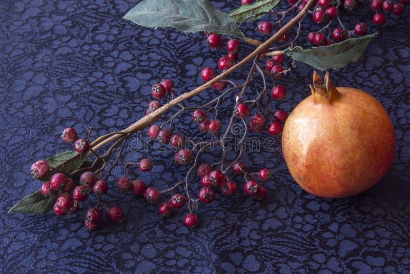 Ainda vida - ikebana do ramo com bagas e grandada secadas Fundo de matéria têxtil fotografia de stock