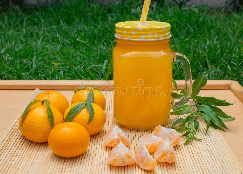 Ainda vida 1 Uma caneca transparente com um punho com suco recentemente espremido da tangerina E tangerinas frescas foto de stock royalty free
