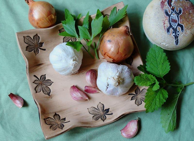 Ainda vida - vegetal e ervas para a saúde - alho, cebola, aipo e erva-cidreira foto de stock royalty free