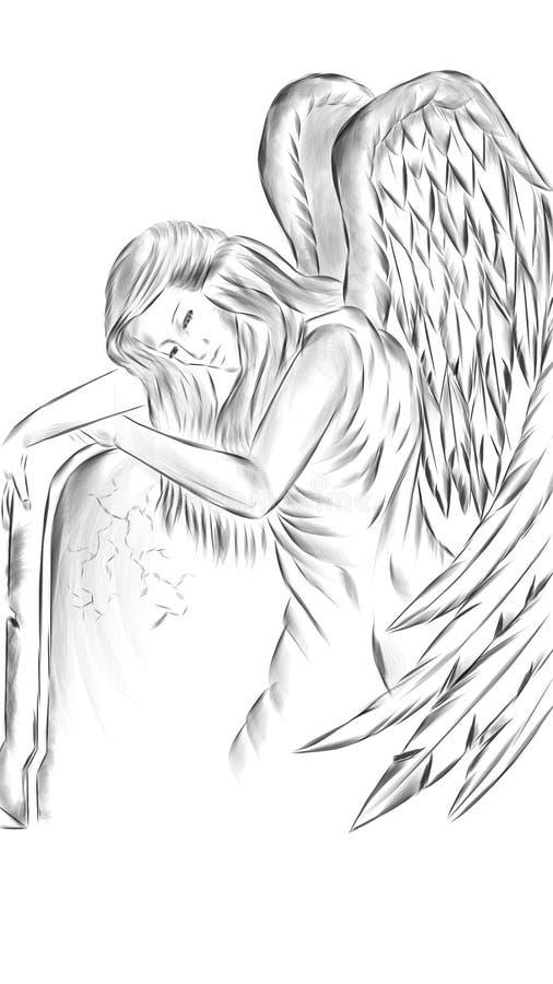 ainglekvinna stock illustrationer