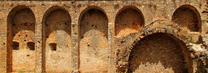 ainsa Aragon grodowa fortu Pyrenees wioski ściana zdjęcie stock