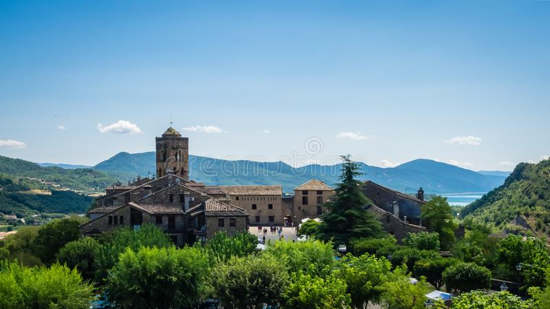 Ainsa, beautiful village in pyrenes Spain. Ainsa, beautiful village in pyrenes , church of the village in royalty free stock images