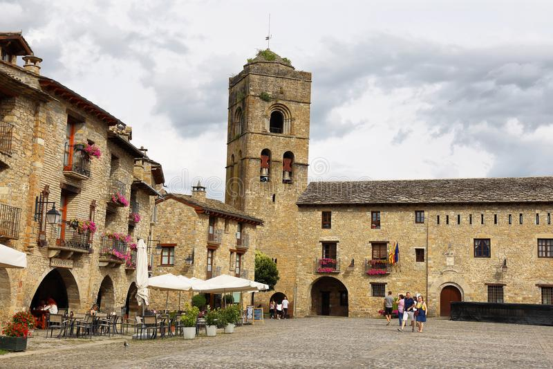 Ainsa medieval village of the Pyrenees with beautiful stone houses, Huesca, Spain royalty free stock photos