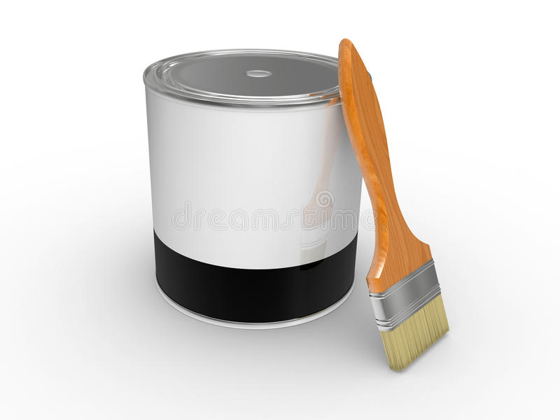 Download Aint can and paintbrush stock illustration. Illustration of container - 16589793