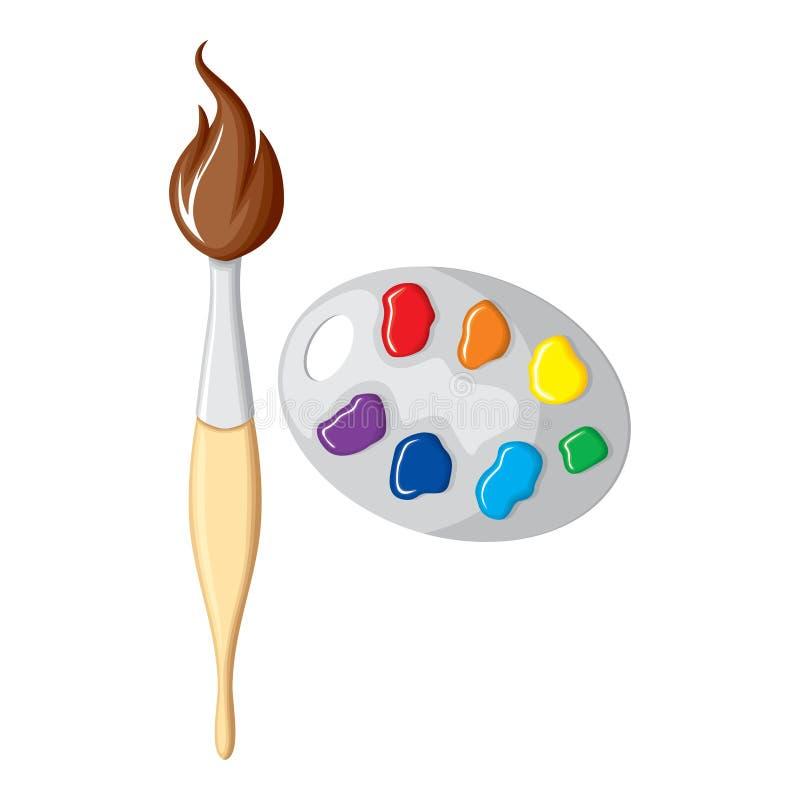 Aintbrush dos desenhos animados e paleta das pinturas ilustração royalty free