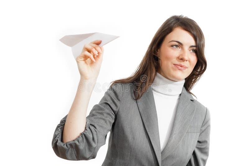 aiplane女实业家纸张 图库摄影