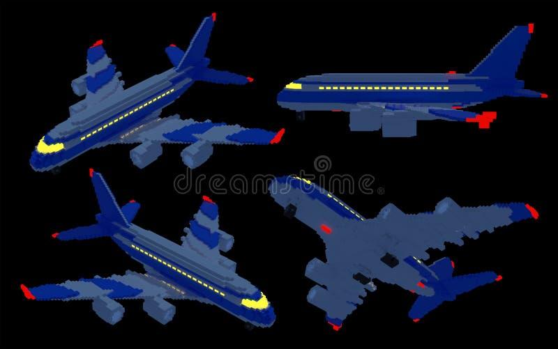 aiplanes 3d en la noche ilustración del vector