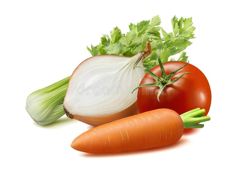 Aipo, cebola, cenoura, tomate isolado no fundo branco fotos de stock royalty free