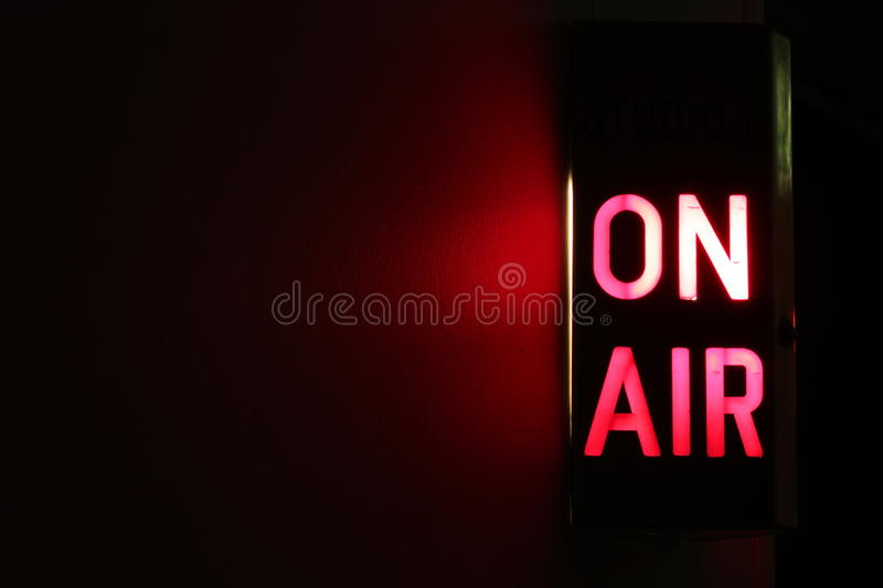 On Air. Studio On Air sign illuminated with glowing copy space