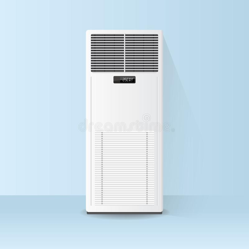 Air conditioner on the floor. White air conditioner on the floor stock illustration