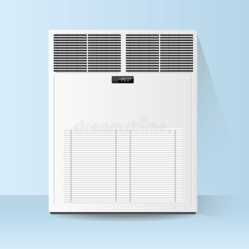 Air conditioner on the floor. White air conditioner on the floor royalty free illustration